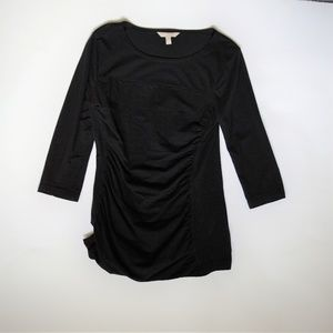 Ruched T-Shirt with 3/4 sleeves Black Size Small